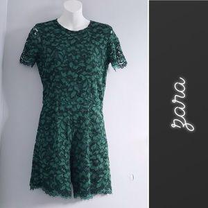 Zara Green Lace Short Sleeve Romper • XS